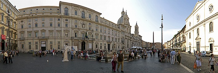 Rom Piazza Navona Fontana del Moro Nostra Signora del Sacro Cuore Obelisk Agonalis Palazzo Pamphilj Sant' Agnese in Agone Vierströmebrunnen