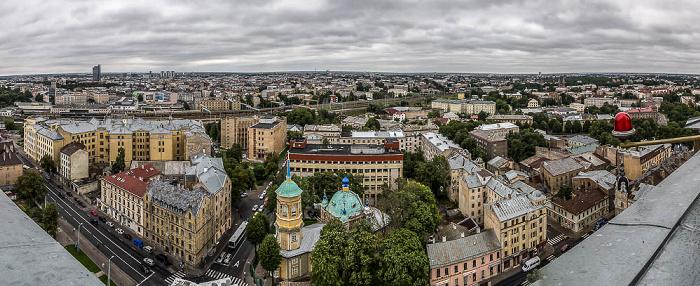 Riga Blick von der Akademie der Wissenschaften: Moskauer Vorstadt (Maskavas forstate) Russisch-orthodoxe Verkündigungskirche
