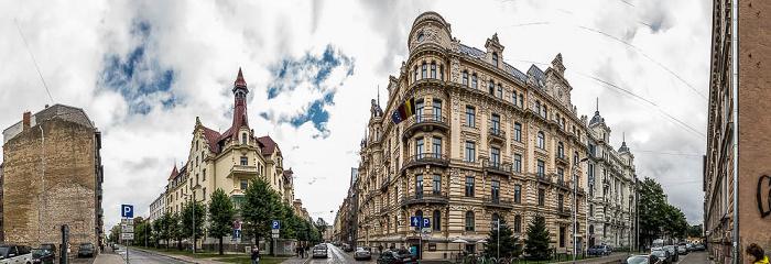 Riga Jugendstilviertel: Ecke Albertstraße (Alberta iela) / Strelniekustraße (Strelnieku iela)