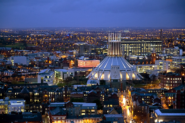 Blick vom Turm der Liverpool Cathedral: Liverpool Metropolitan Cathedral