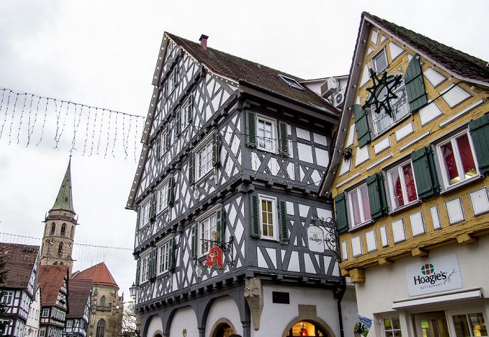 Schorndorf Altstadt: Johann-Philipp-Palm-Straße - Palm'sche Apotheke Evangelische Stadtkirche