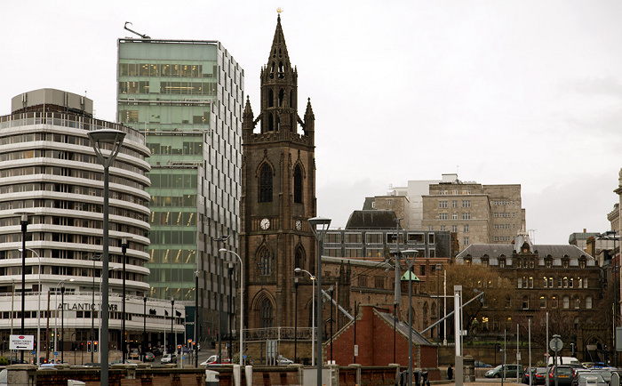 Liverpool V.l.: Atlantic Tower, Unity Commercial, Church of Our Lady and Saint Nicholas
