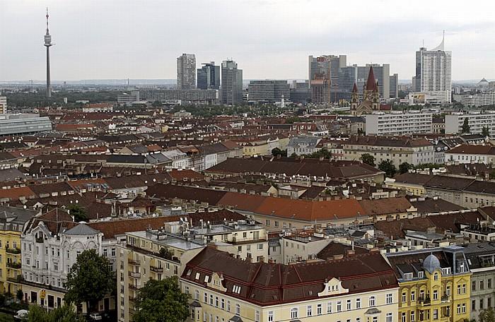 Wiener Prater (Wurstelprater): Blick aus dem Riesenrad - Donauturm und Donau City Wien