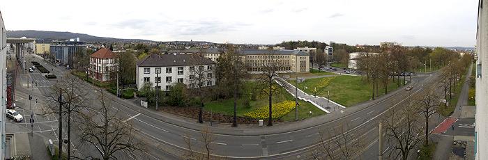 Kassel Blick aus dem InterCityHotel: Wilhelmshöher Allee Bahnhof Kassel-Wilhelmshöhe Bergpark Wilhelmshöhe Bundessozialgericht Herkules Oktogon