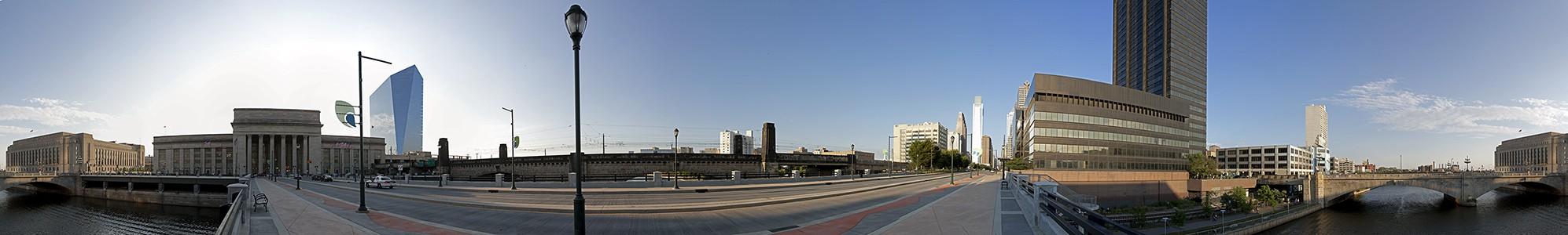 Philadelphia 30th Street Station, Cira Centre, John F. Kennedy Boulevard Bridge, Penn Center, Market Street Bridge