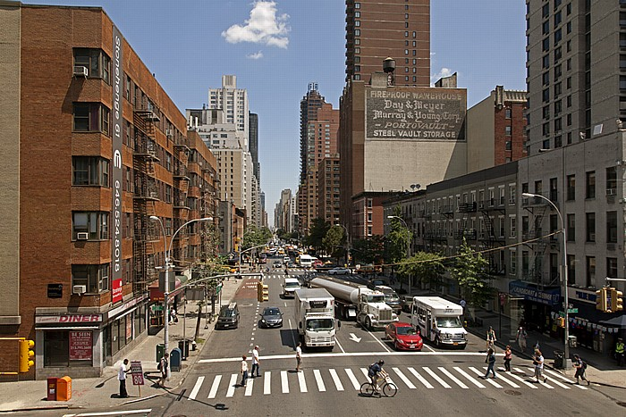 New York City Blick aus der Roosevelt Island Tramway: Lenox Hill (Upper East Side) - 2nd Avenue
