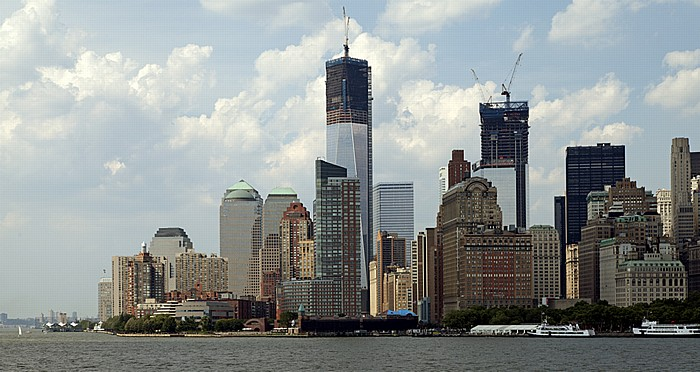 Blick von der Staten Island Ferry: Hudson River, Lower Manhattan New York City