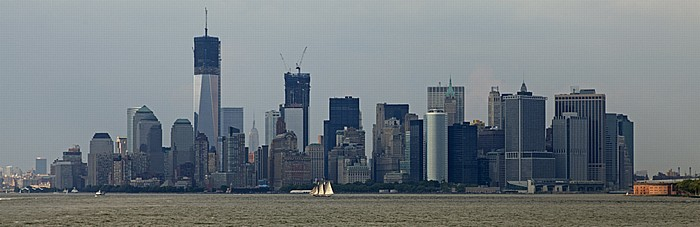 New York City Blick von der Staten Island Ferry: Upper Bay und Lower Manhattan