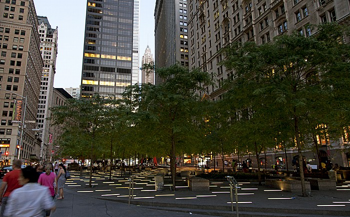 New York Financial District: Zuccotti Park (Liberty Plaza Park) 70 Pine Street Chase Manhattan Bank Building Equitable Building Manhattan Marine Midland Building United States Realty Building