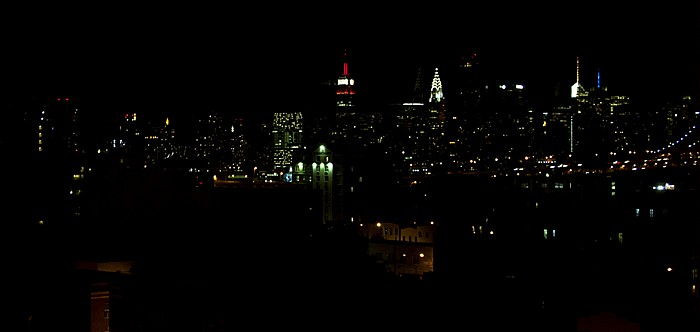 New York Blick aus dem Holiday Inn Long Island City: Queens und Manhattan Chrysler Building Empire State Building