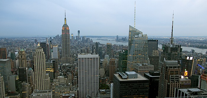 Blick vom GE Building (Rockefeller Center) Top Of The Rock: Manhattan, Hudson River und New Jersey New York City