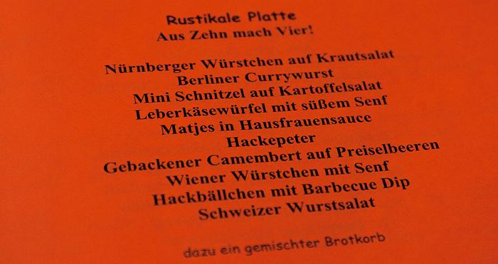 Berlin Schöneberg: Restaurant Robbengatter - Speisekarte Rustikale Platte Restaurant Robbengatter
