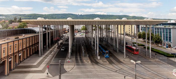Blick aus dem InterCityHotel: Bahnhof Kassel-Wilhelmshöhe, Wilhelmshöher Allee Bergpark Wilhelmshöhe Herkules