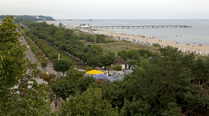 Ahlbeck Blick vom Grand City Strandhotel: Dünenstraße, Strand, Seebrücke und Ostsee