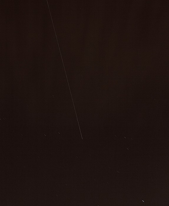 München Blick vom Ostparkhügel: Leuchtspur der Internationalen Raumstation (ISS)