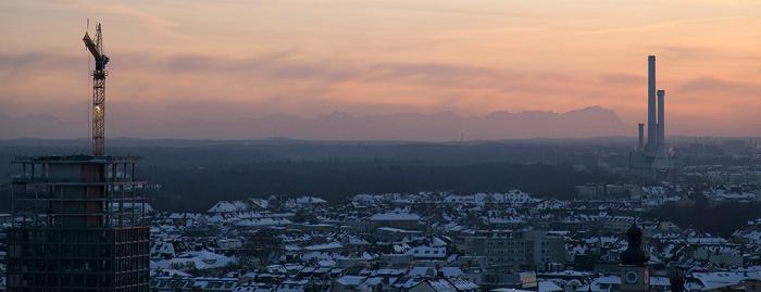 Blick von St. Peter (Alter Peter): Alpen München