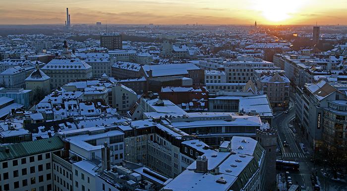 Blick von St. Peter (Alter Peter): Altstadt-Lehel, Ludwigsvorstadt-Isarvorstadt, Sendling - Sonnenuntergang München