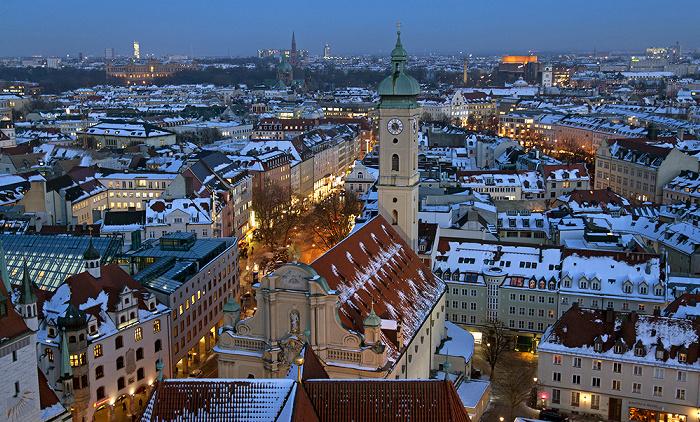 Blick von St. Peter (Alter Peter): Altstadt-Lehel, Ludwigsvorstadt-Isarvorstadt, Au-Haidhausen München