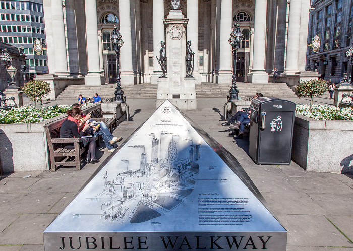 City of London: Platz vor der Royal Exchange - Hinweistafel für den Jubilee Walkway London
