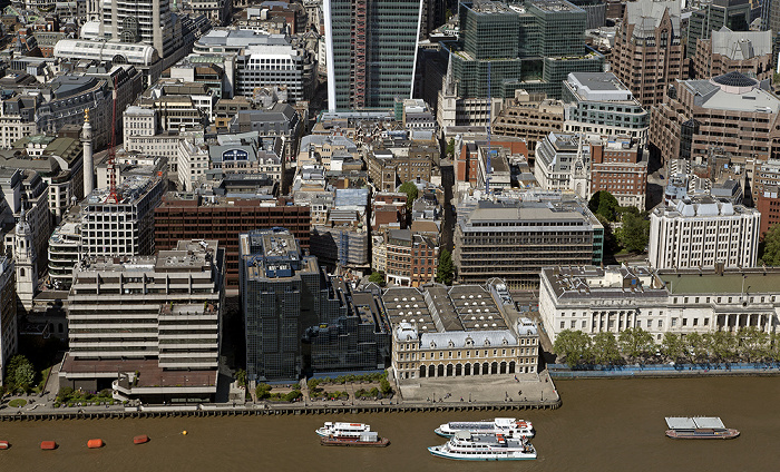 Blick von The Shard: City of London, Themse Billingsgate Market Custom House Monument Northern & Shell Building St Magnus the Martyr
