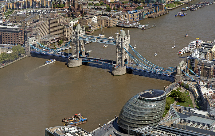 London Blick von The Shard: Themse, Tower Bridge, City Hall