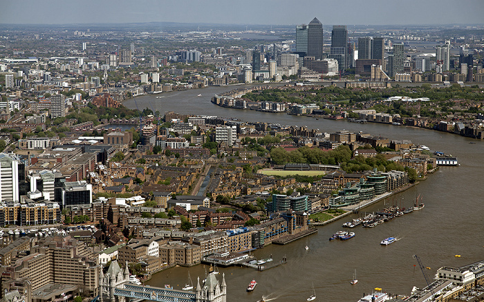 London Blick von The Shard: Themse, Docklands
