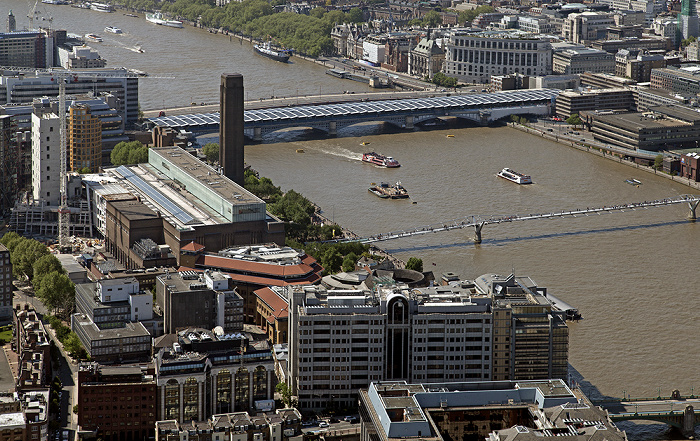 London Blick von The Shard - Southwark - Tate Modern Blackfriars Bridge Blackfriars Railway Bridge Millennium Bridge Themse