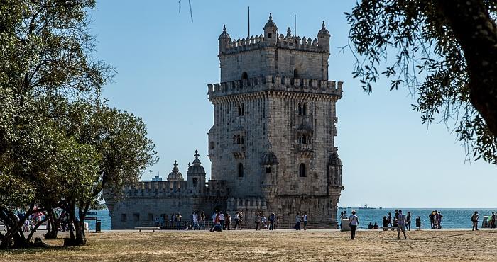 Lissabon Belém: Jardim da Torre de Belém, Torre de Belém, Tejo, Atlantik