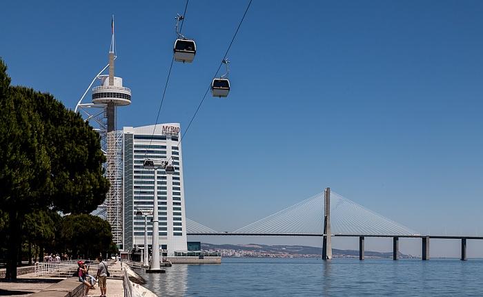 Parque das Nações: Torre Vasco da Gama, Tejo, Ponte Vasco da Gama Lissabon