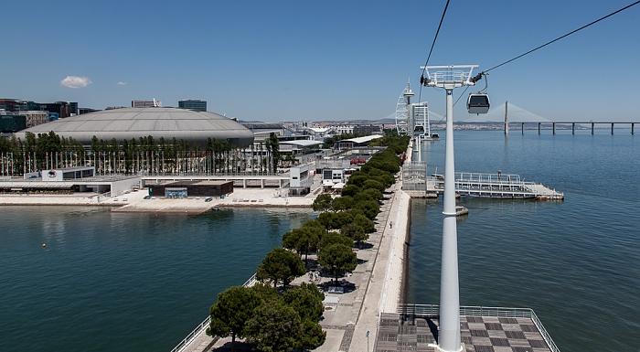 Lissabon Parque das Nações: Blick aus der Teleférico da Expo EXPO '98 Pavilhão Atlantico Ponte Vasco da Gama Tejo Torre Vasco da Gama