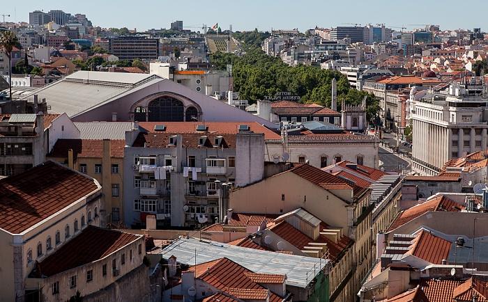 Blick vom Elevador de Santa Justa: Baixa - Estação Ferroviária do Rossio Lissabon