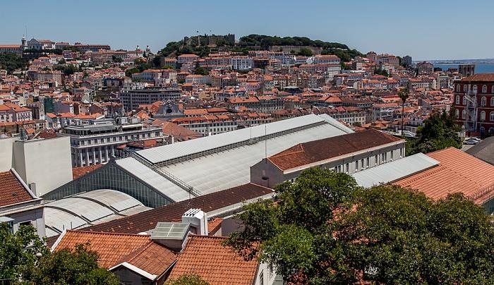 Lissabon Blick vom Miradouro de São Pedro de Alcântara: Baixa Castelo de São Jorge Convento da Graça Estação Ferroviária do Rossio Igreja de São Vicente de Fora Se Patriarcal