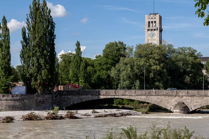München Isar mit Hochwasser, Corneliusbrücke, Deutsches Museum