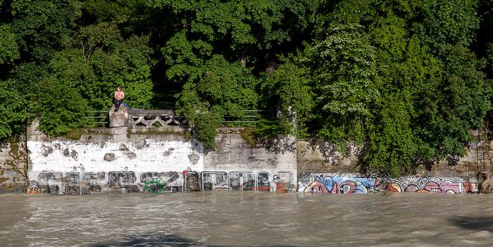 München Isar mit Hochwasser, Maximiliansanlagen