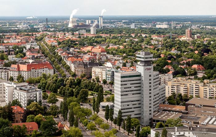 Blick vom Funkturm: Westend mit dem Theodor-Heuss-Platz und dem Fernsehzentrum des Rundfunks Berlin-Brandenburg (RBB) Berlin