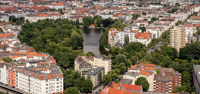 Blick vom Funkturm: Charlottenburg - Lietzensee im Lietzenseepark Berlin