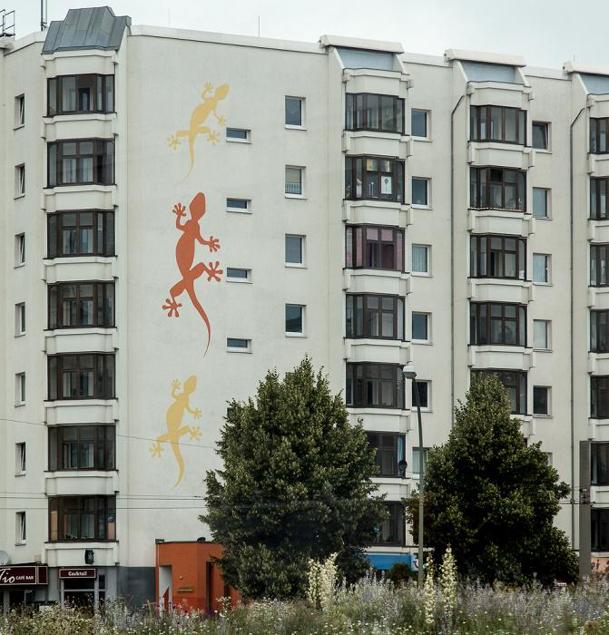 Friedrichshain: Bersarinplatz - Geckos auf der Hauswand Berlin