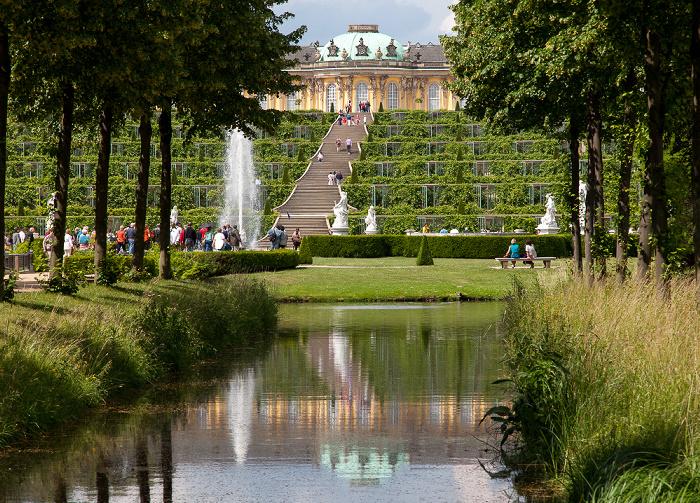Potsdam Park Sanssouci: Große Fontäne, Weinbergterrassen, Schloss Sanssouci Schloß Sanssouci