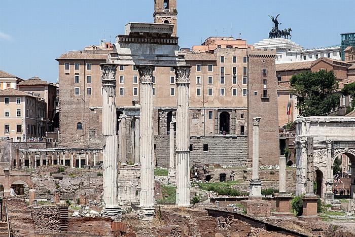 Forum Romanum: Tempel von Castor und Pollux Kapitol Monumento Vittorio Emanuele II Senatorenpalast Septimius-Severus-Bogen