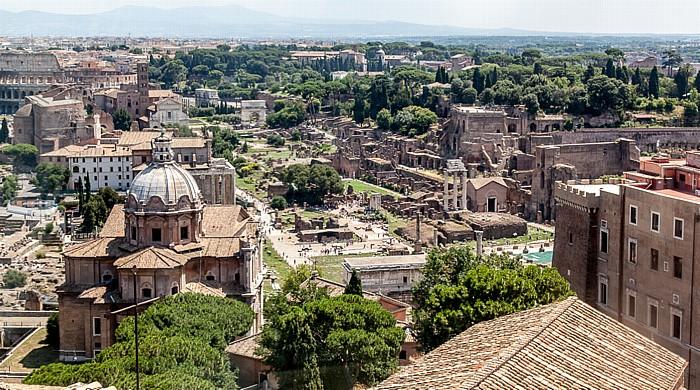 Blick vom Monumento Vittorio Emanuele II: Forum Romanum und Palatin Rom