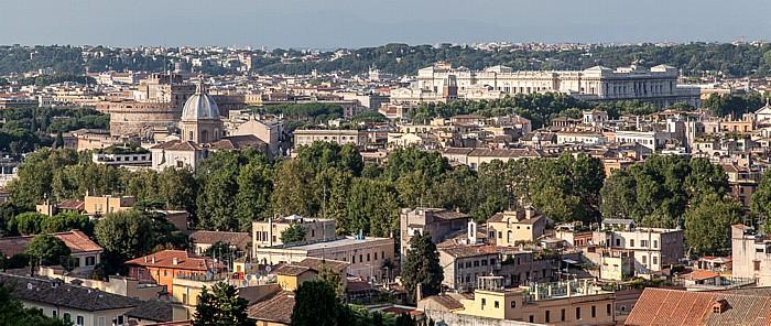 Rom Trastevere: Blick vom Gianicolo auf das Centro Storico Basilica di San Giovanni dei Fiorentini Engelsburg Palazzo di Giustizia
