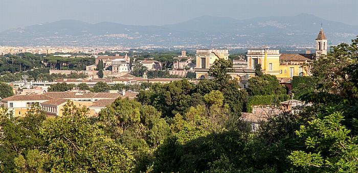 Trastevere: Blick vom Gianicolo - Orto Botanico di Roma und Chiesa di San Pietro in Montorio