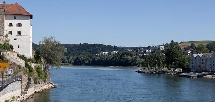 Passau Veste Niederhaus, Zusammenfluss von Donau und Inn, Altstadt