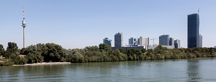 Wien Donaustadt (XXII. Bezirk): Donau, Donaupark mit Donauturm, Donau City DC Tower 1 Vienna International Centre