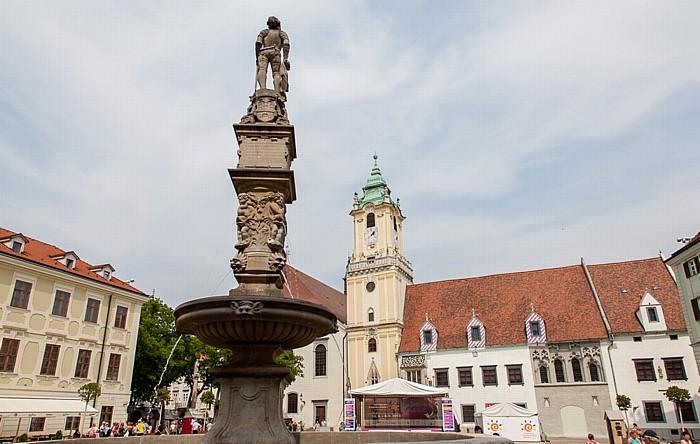 Bratislava Altstadt (Staré Mesto): Hauptplatz (Hlavné námestie) - Maximiliansbrunnen Miestodrzitelsky palác