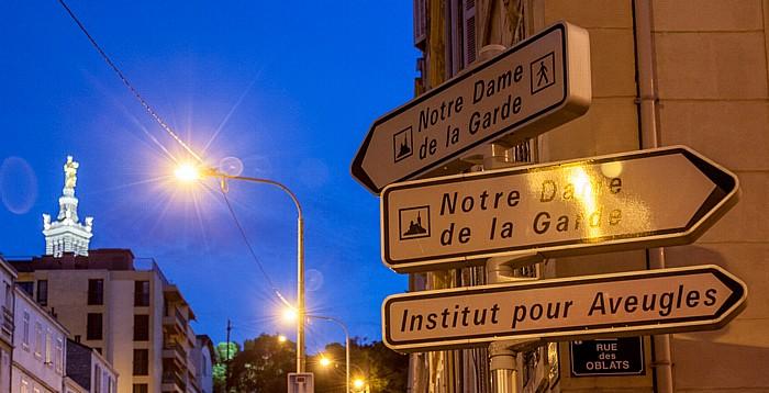Marseille Wegweiser zur Basilique Notre-Dame-de-la-Garde