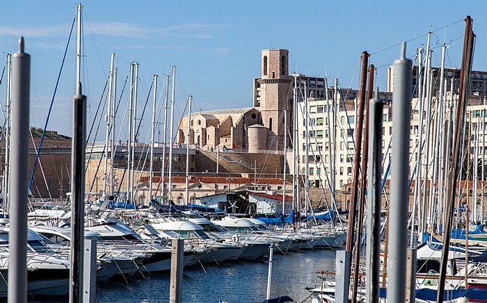Alter Hafen (Vieux-Port) und Église Saint-Laurent de Marseille