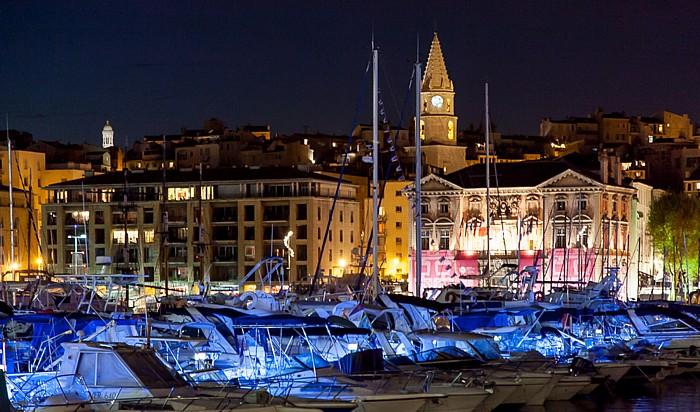 Marseille Alter Hafen (Vieux-Port), Hôtel de Ville (Rathaus) und Turm der Église Notre-Dame-des-Accoules