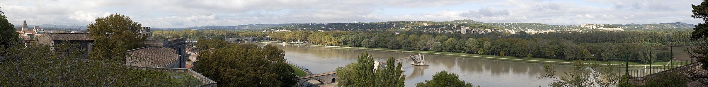 Avignon Blick vom Rocher des Doms: Rhone, Île de la Barthelasse Pont Saint-Bénézet