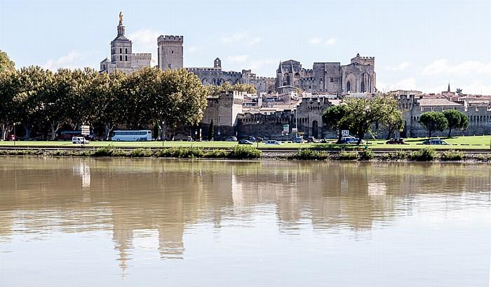 Avignon Blick von der Île de la Barthelasse: Rhone, Papstpalast (Palais des Papes)